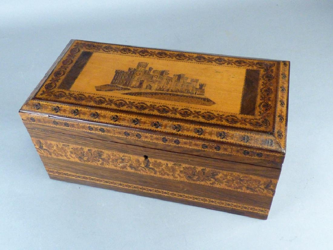 Antique English Tunbridge Ware Tea Caddy