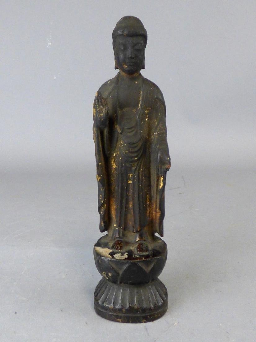 Antique Carved & Gilt Wood Buddha Figure