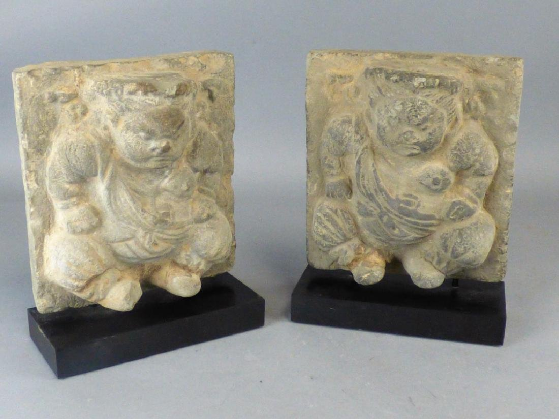Pair Chinese Carved Stone Plaques