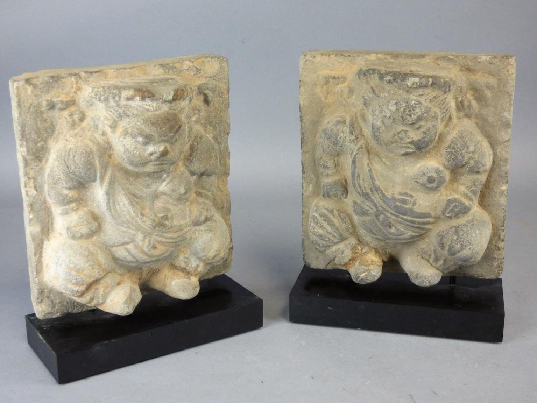 Pair Chinese Carved Stone Plaques - 2
