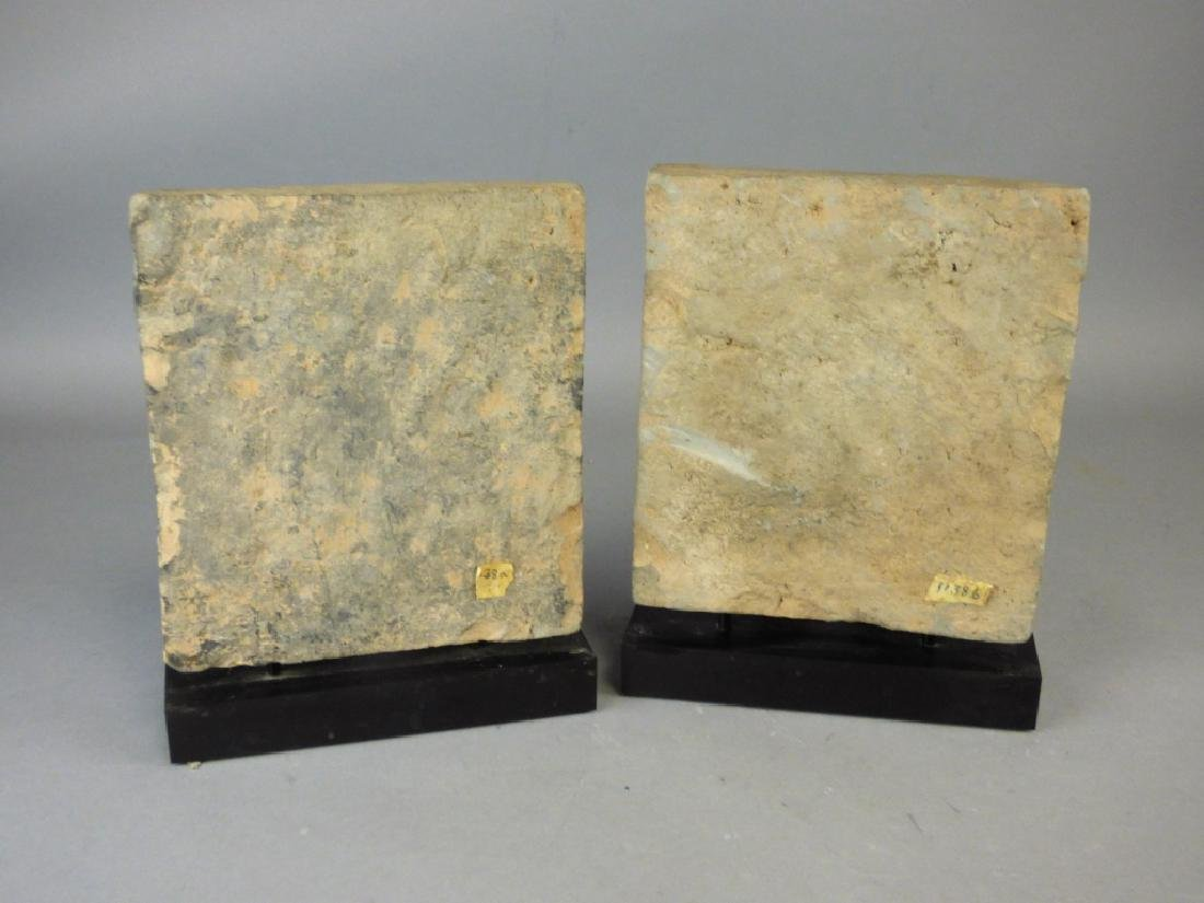 Pair Chinese Carved Stone Plaques - 5
