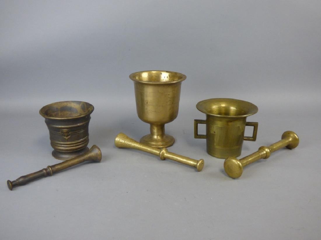 Three Antique Bronze Mortar & Pestle - 2