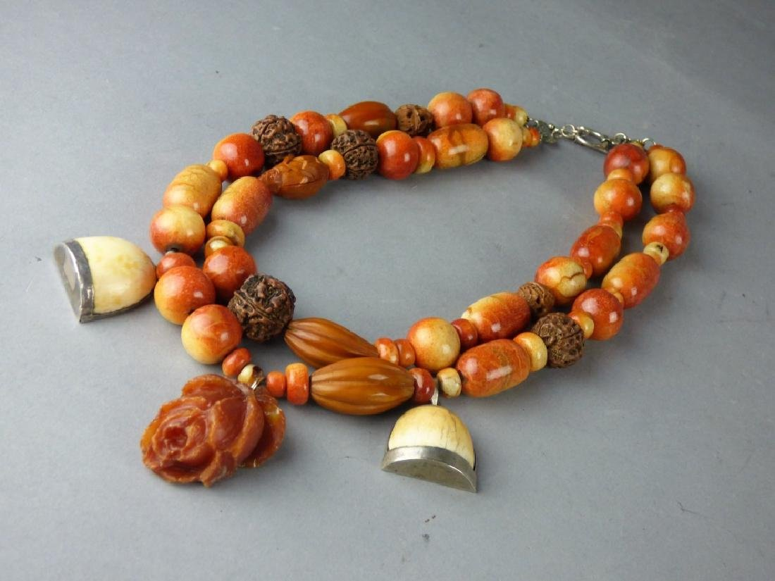 Chinese Coral, Amber, Heidao Necklace