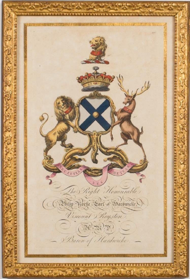 18th Century English Heraldry Crest Engraving