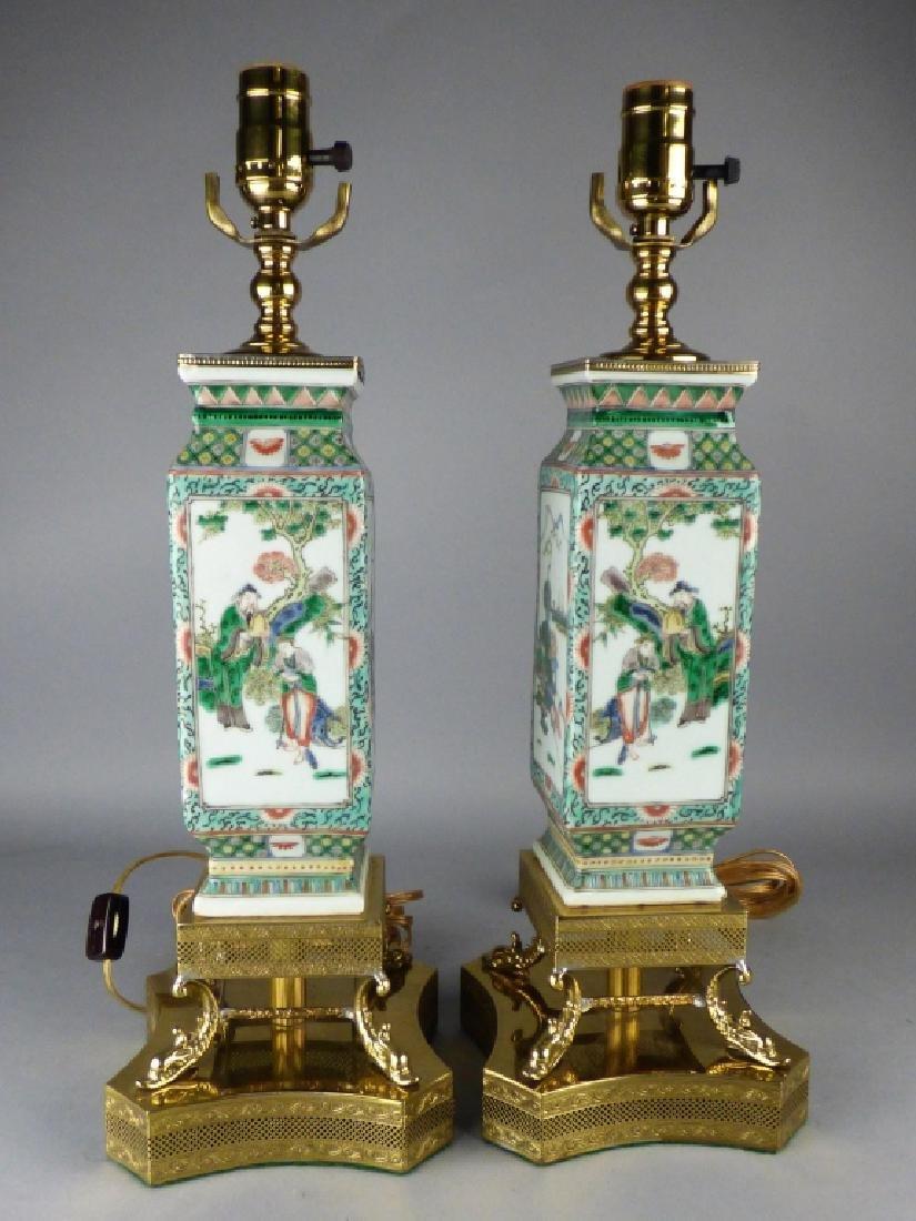 Pair of Chinese Famille Verte Porcelain Vases