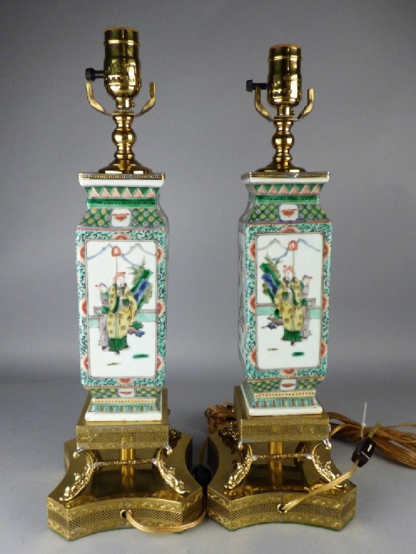 Pair of Chinese Famille Verte Porcelain Vases - 2