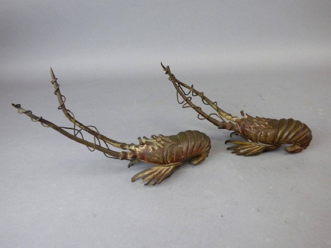 Two Japanese Bronze Prawns