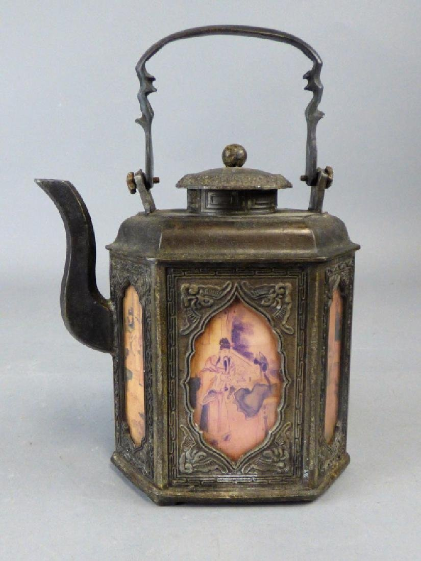 Chinese Pewter and Reverse Painted Glass Teapot