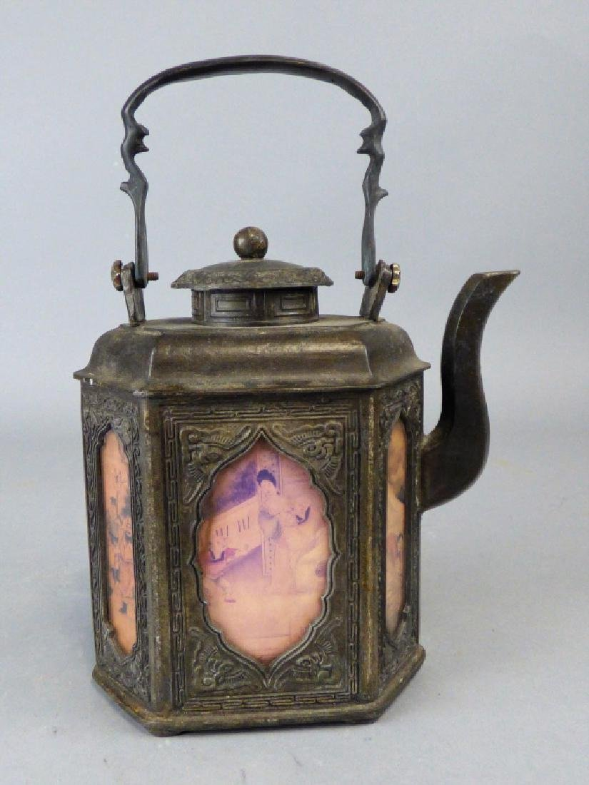 Chinese Pewter and Reverse Painted Glass Teapot - 2