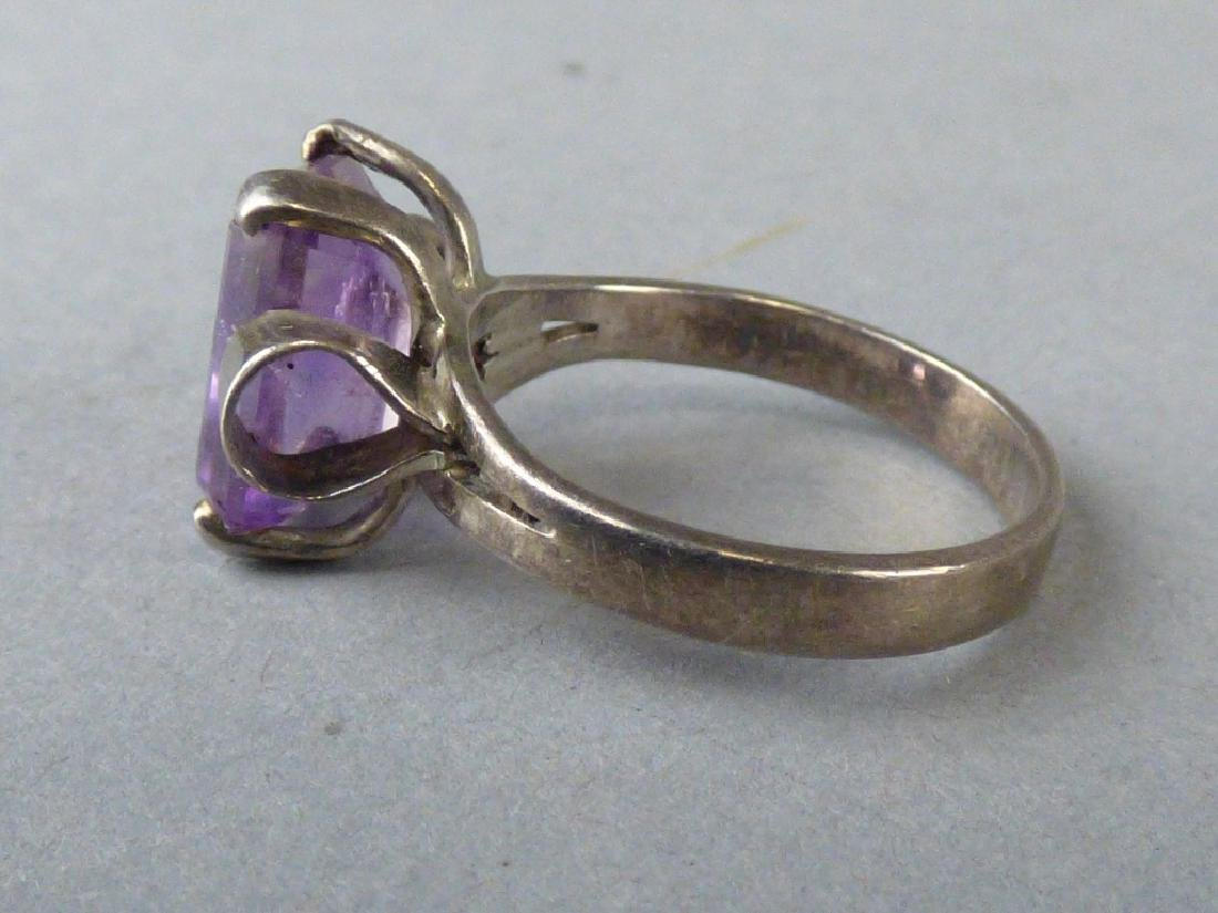 Four Amethyst & Sterling Silver Rings - 10