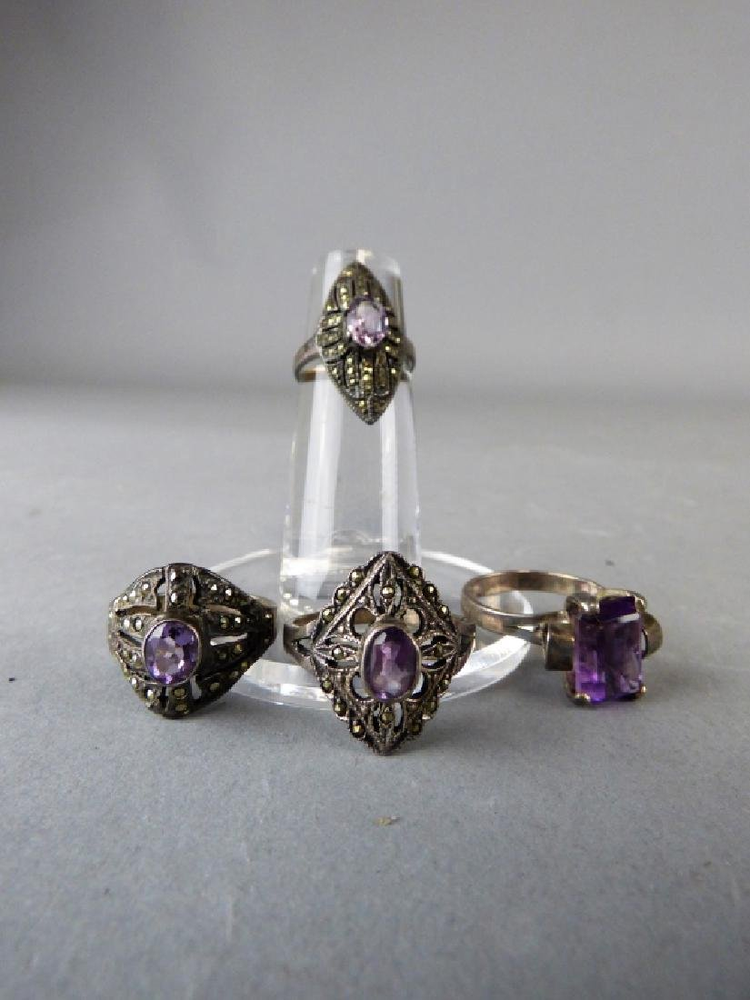 Four Amethyst & Sterling Silver Rings