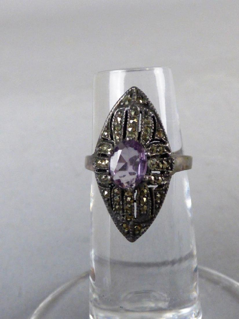 Four Amethyst & Sterling Silver Rings - 2