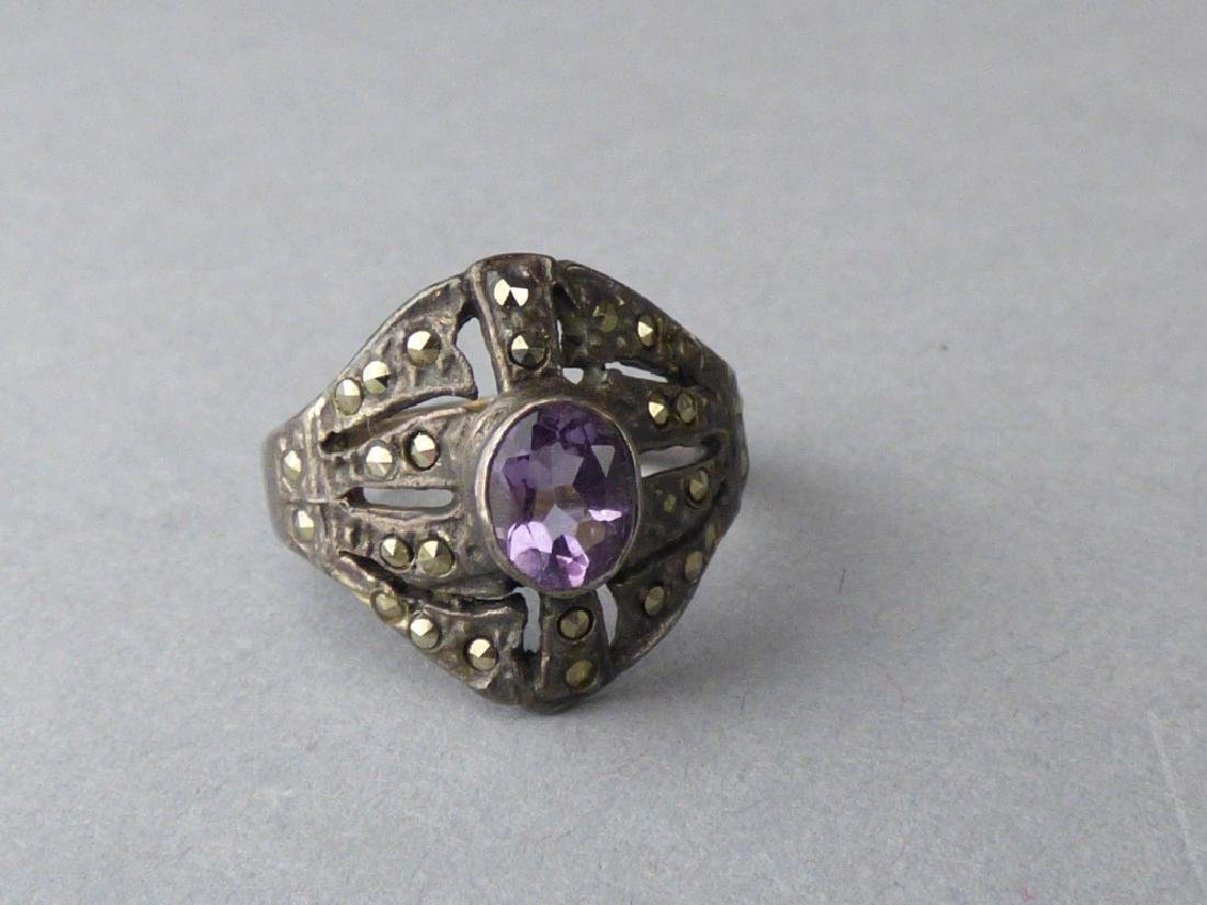 Four Amethyst & Sterling Silver Rings - 4