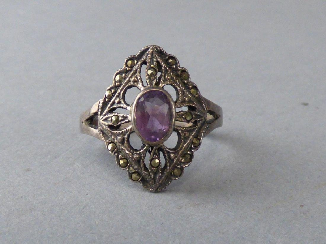 Four Amethyst & Sterling Silver Rings - 6