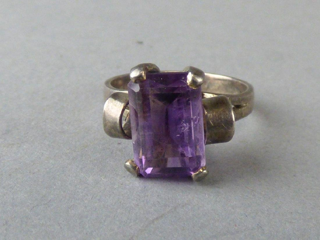 Four Amethyst & Sterling Silver Rings - 9