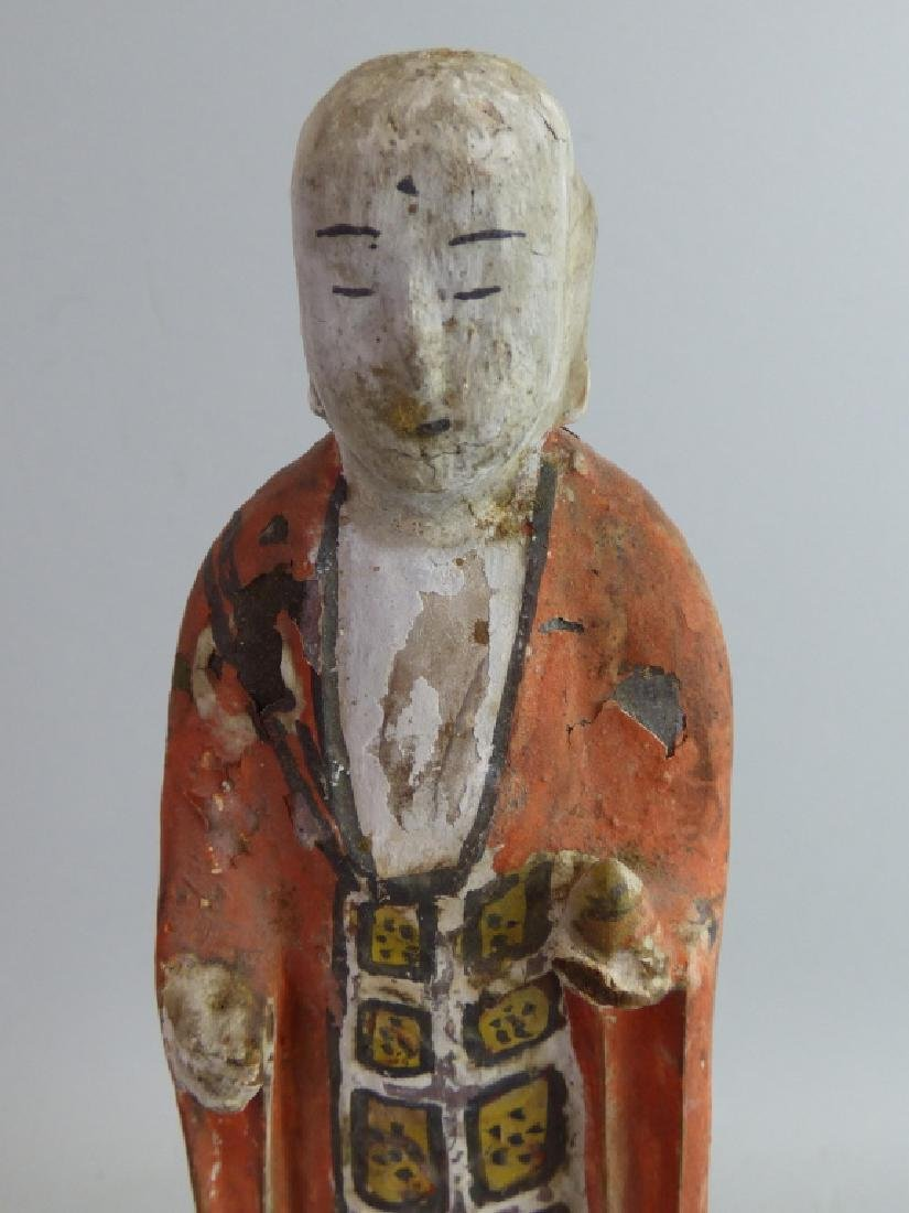 Five Antique Polychromed Wood Buddhist Articles - 17