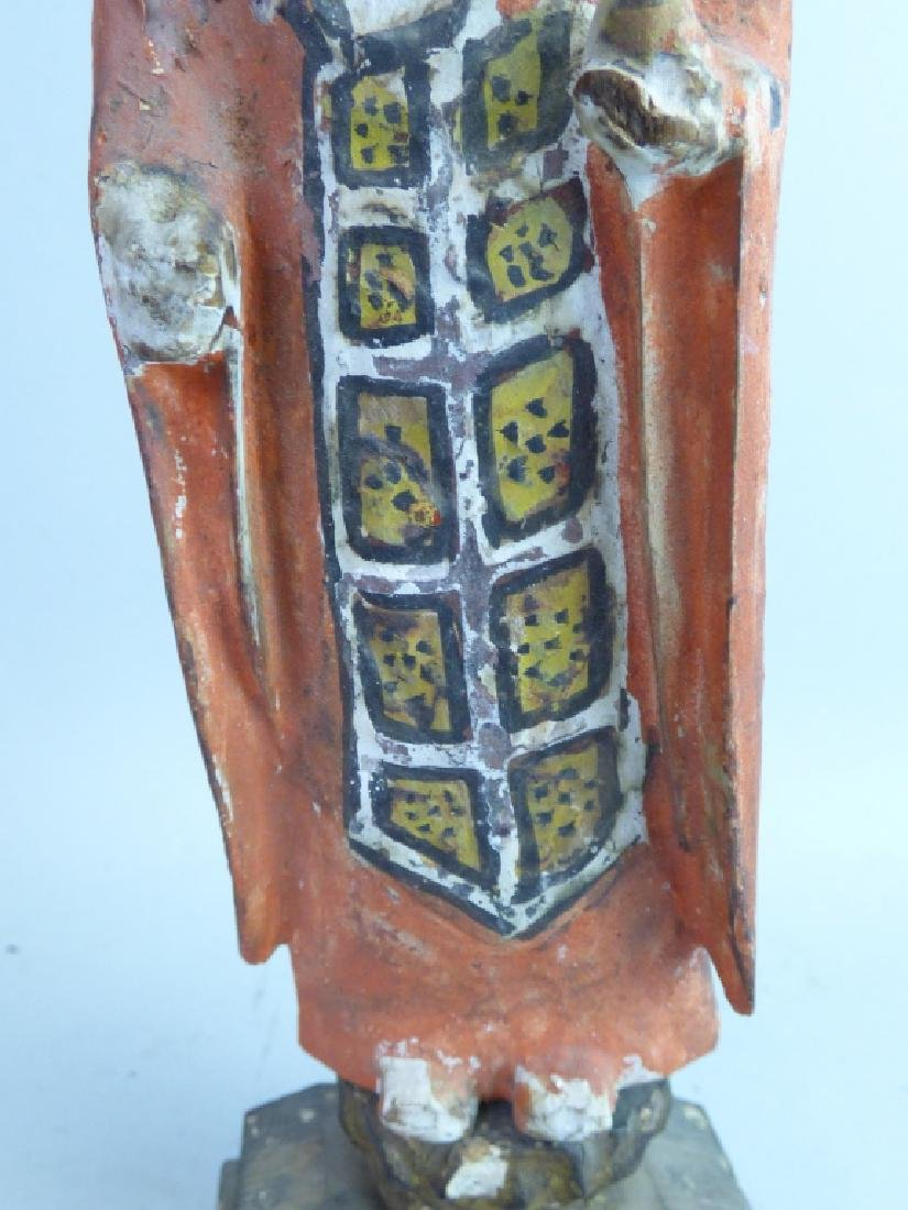 Five Antique Polychromed Wood Buddhist Articles - 18