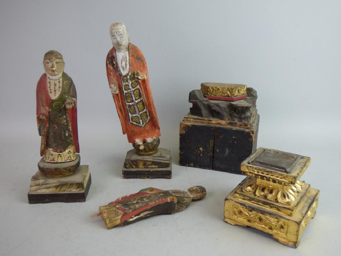 Five Antique Polychromed Wood Buddhist Articles
