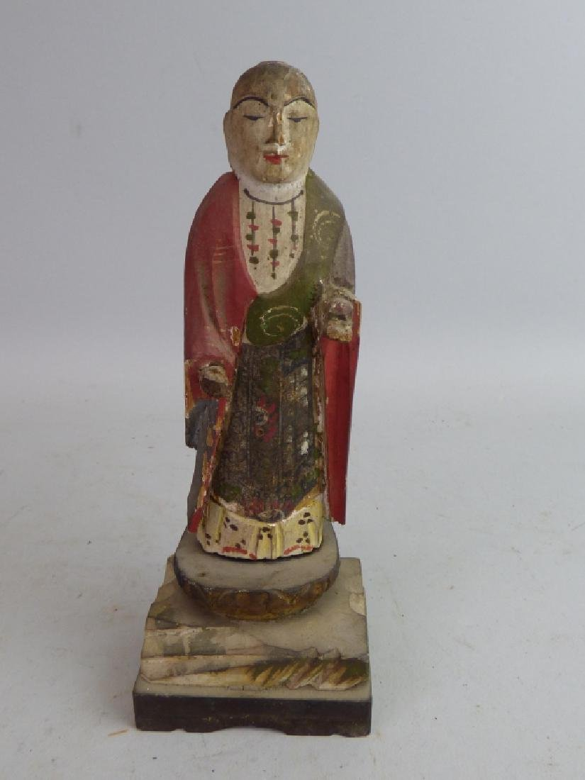 Five Antique Polychromed Wood Buddhist Articles - 20