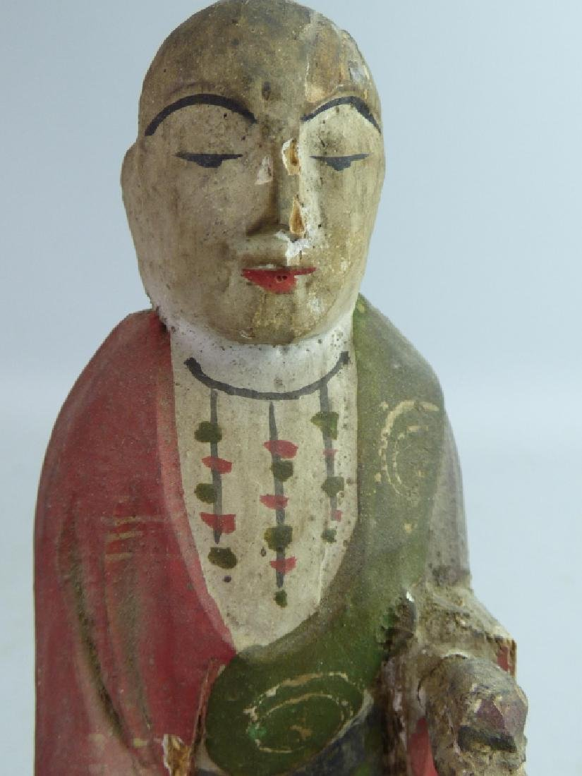 Five Antique Polychromed Wood Buddhist Articles - 2