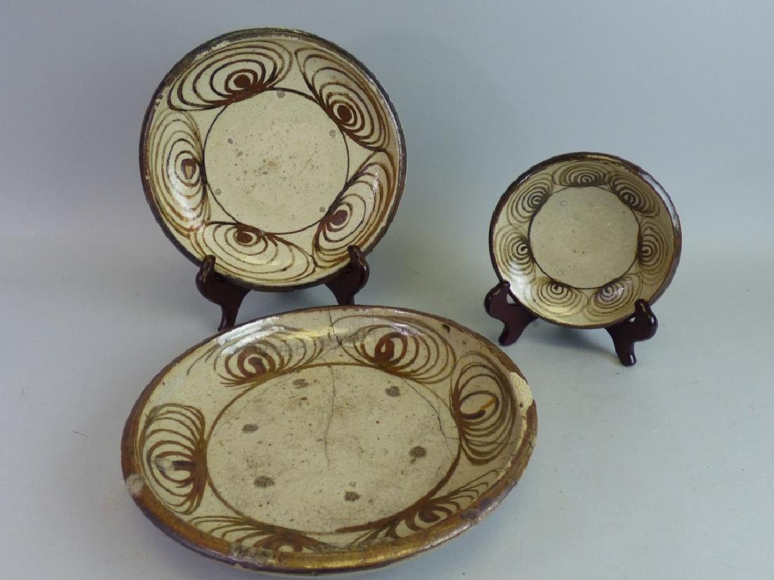 Three Japanese Seto Umanome Stoneware Dishes
