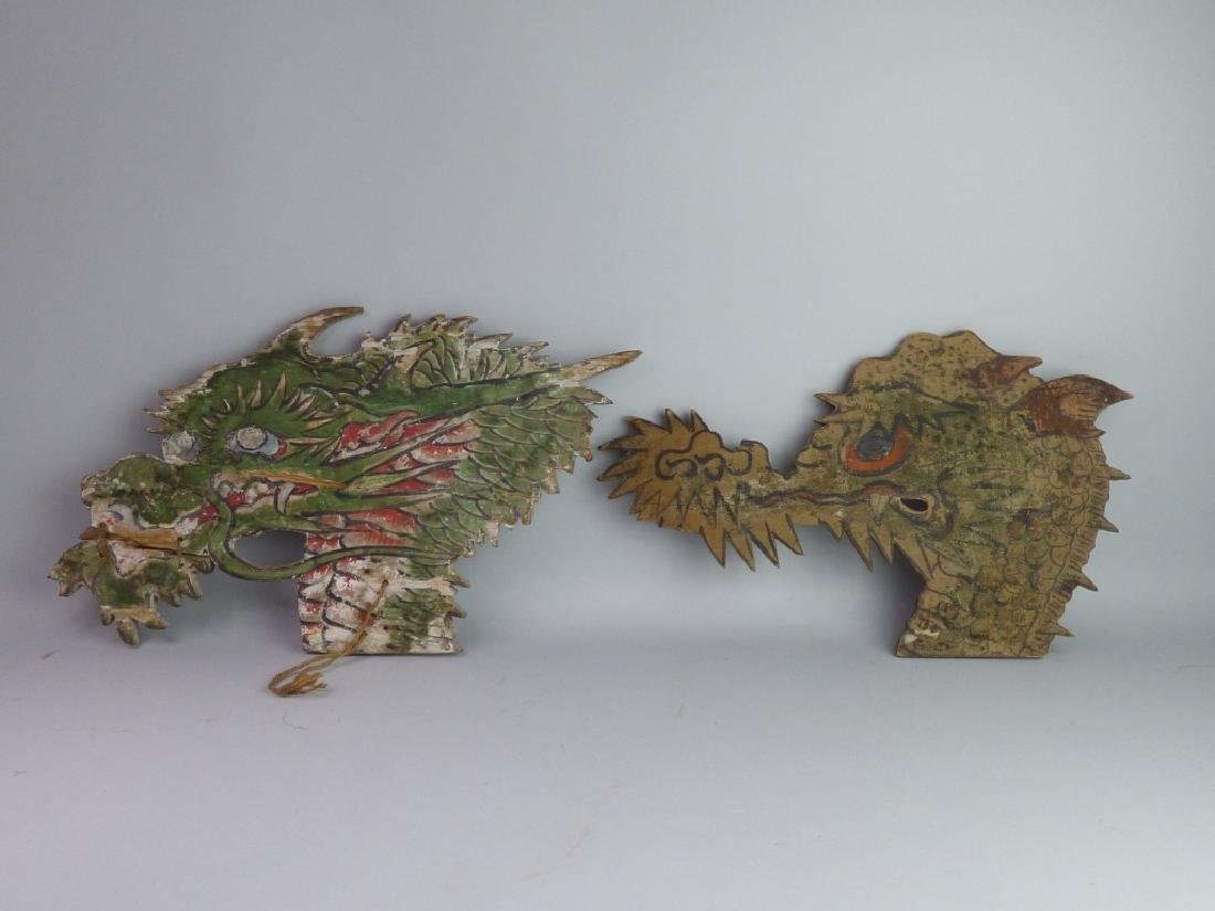 Near-Pair of Polychromed Wood Decorative Elements - 2