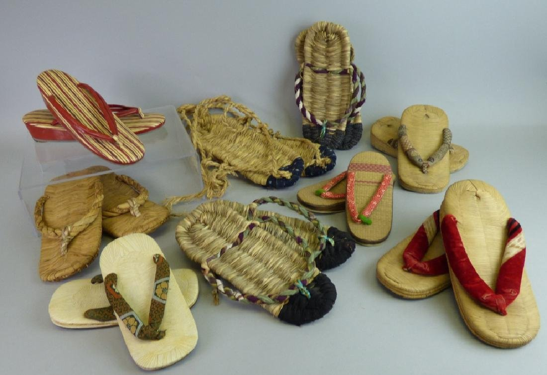 Nine Assorted Pairs of Japanese Sandals