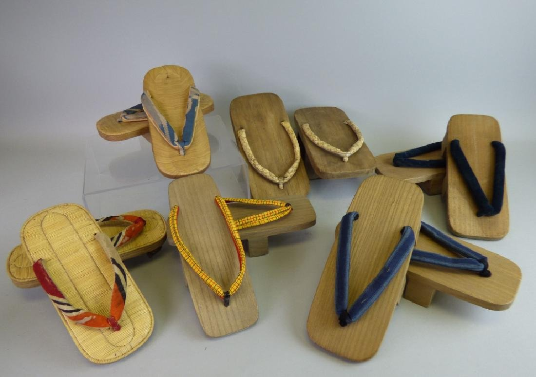 Six Pairs of Wooden Geta Sandals