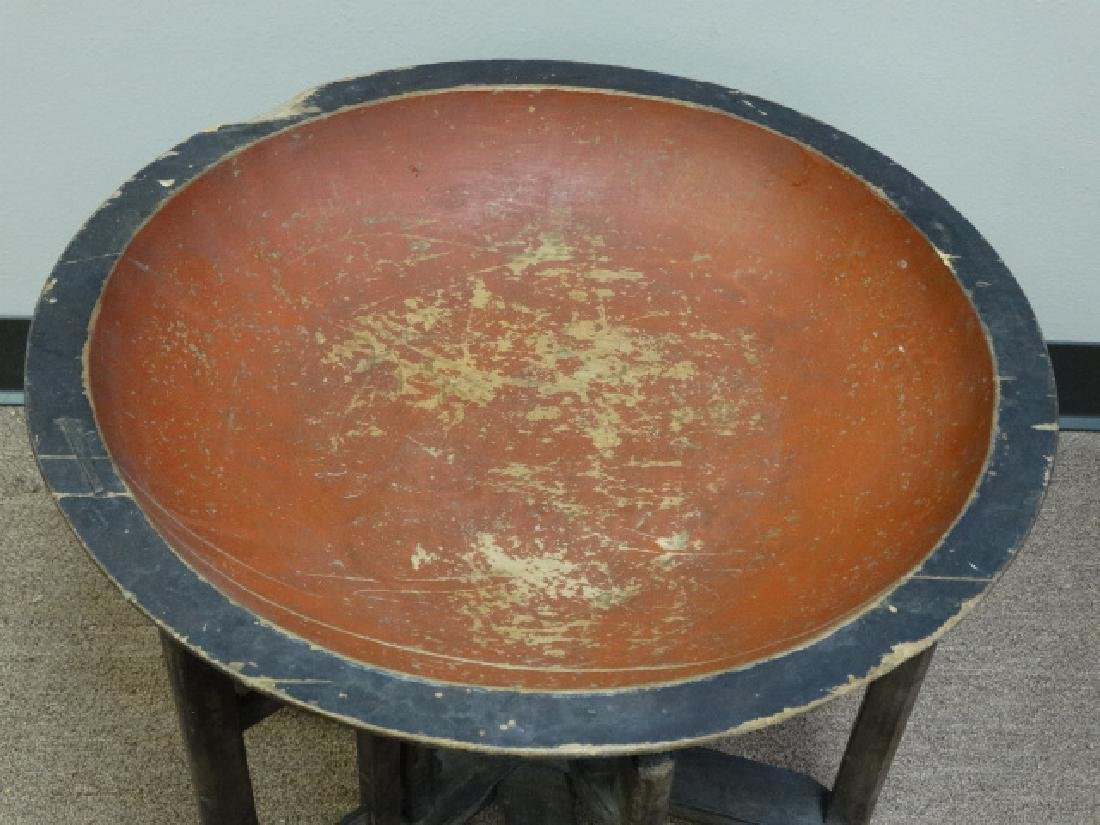 Carved Lacquer Bowl atop Adjustable Wood Stand - 4