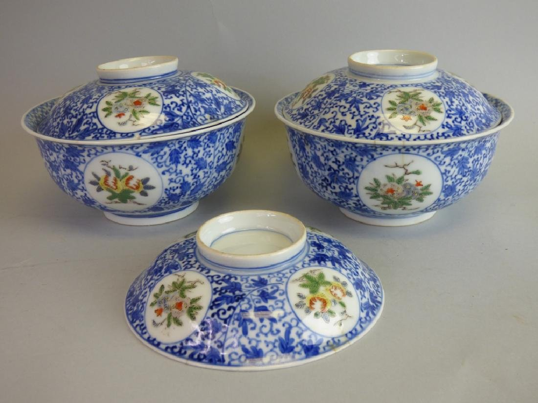 Two Chinese Famille Verte Doucai Covered Bowls
