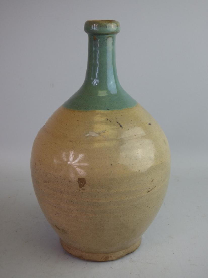 Seto Oribe-Style Tokkuri Sake Bottle