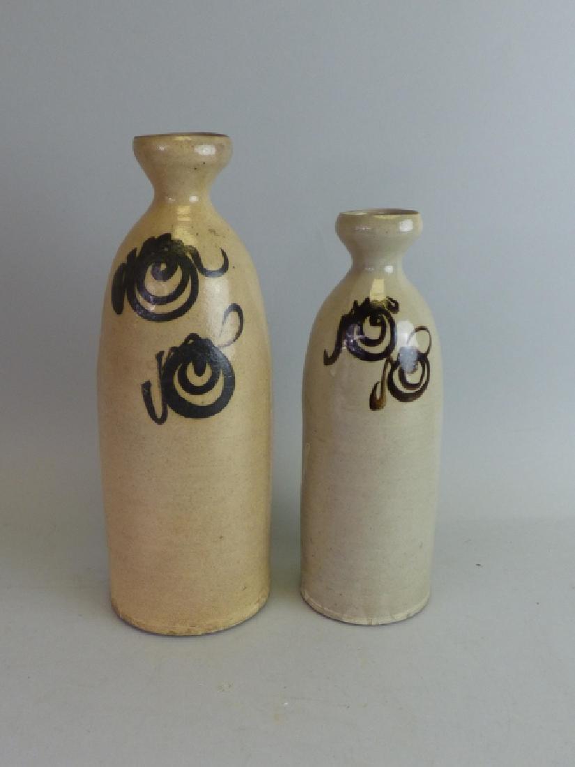 Two Pottery Sake Tokkuri