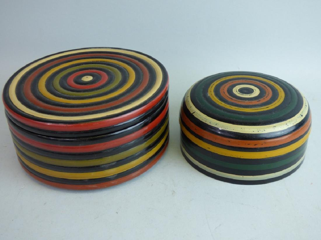 Two Polychromed Lacquered Boxes