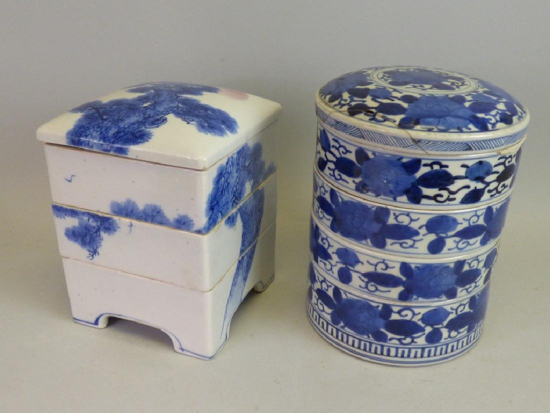 Two Antique Japanese B/W Stacking Boxes