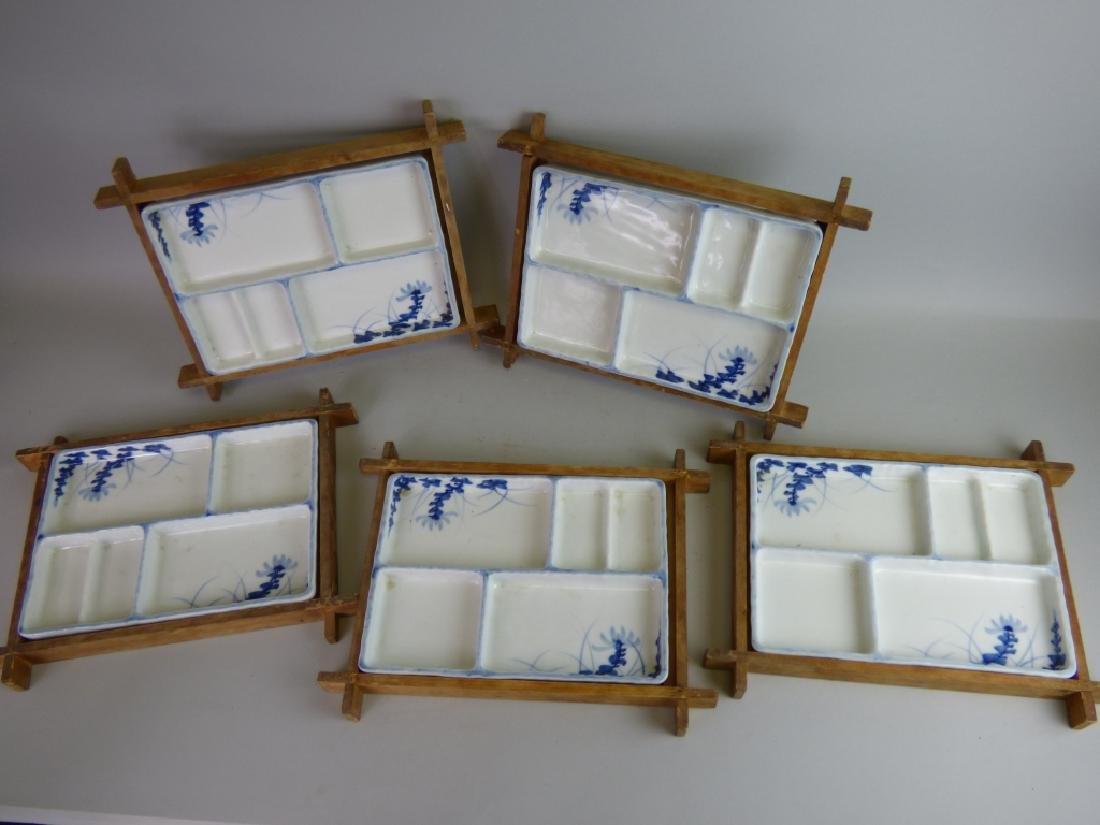 Eight Antique Japanese Porcelain Divided Trays