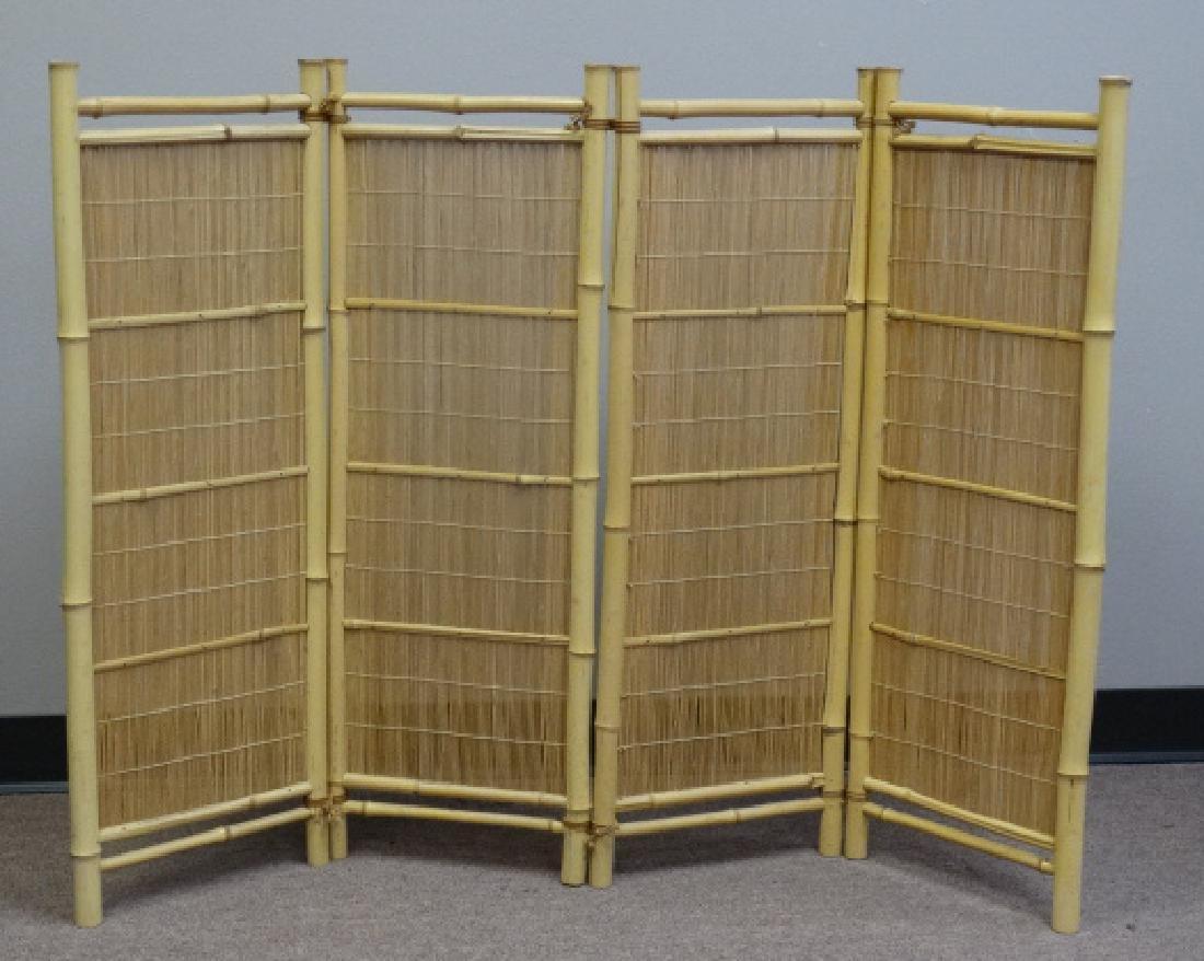 Japanese 4 Panel Bamboo Floor Screen