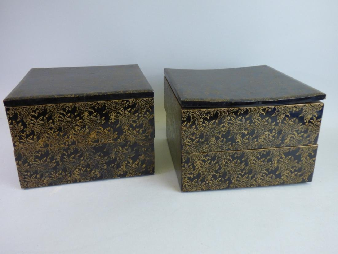 Two Lacquered Stacking Boxes