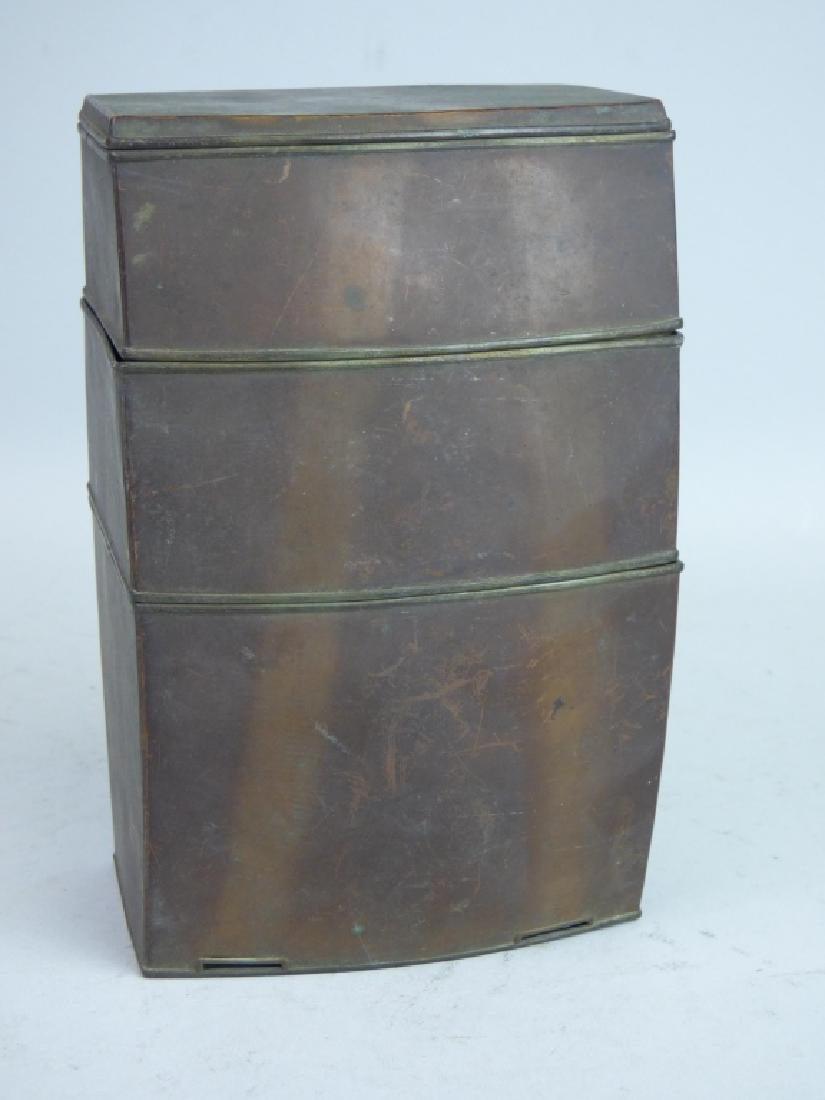 Tin-Lined Copper Stacking Tea Caddy