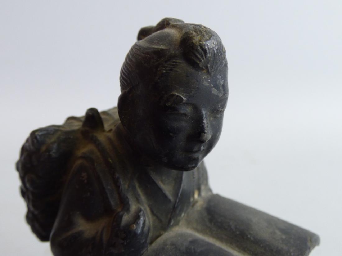 Three Antique Japanese Figural Metalware Articles - 6