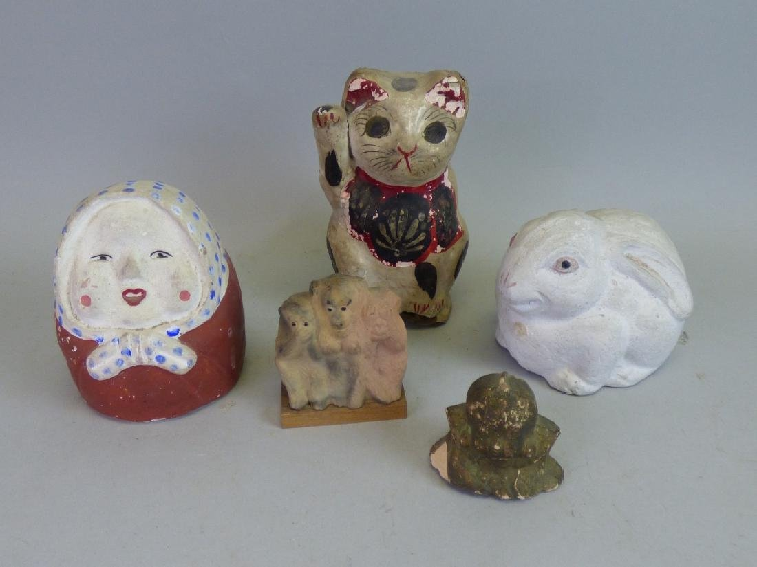 Group of Five Assorted Japanese Figural Articles