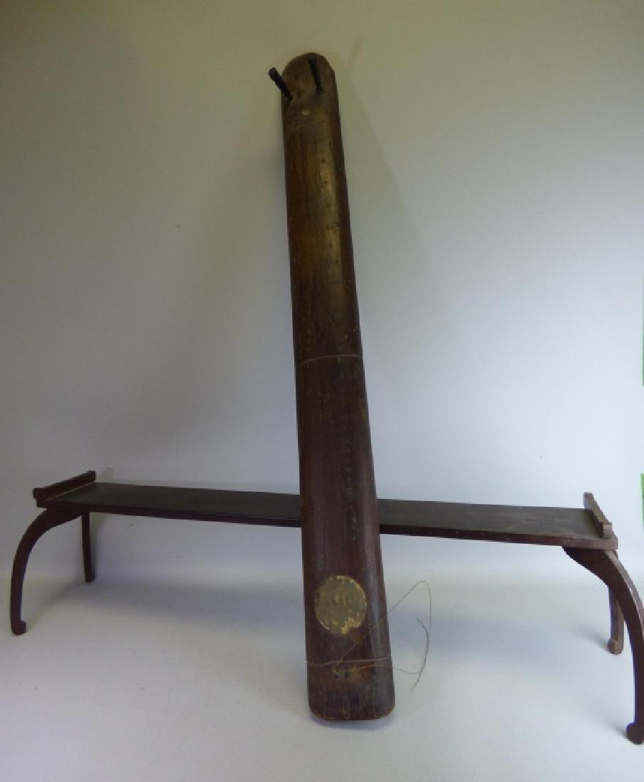 Antique Japanese Carved Wood Ichigenkin & Stand
