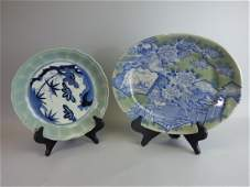 Two Antique Arita Blue  Celadon Porcelain Dishes
