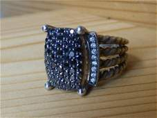 David Yurman Black Diamond  Sterling Ring