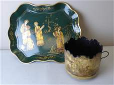 Two Antique Toleware Items