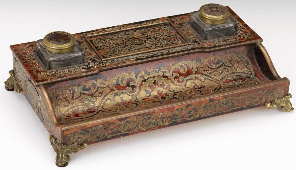 A French Tortoiseshell and Brass Boulle Encrier