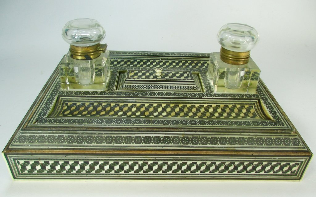 Antique Anglo-Indian Ivory Inlaid Standish
