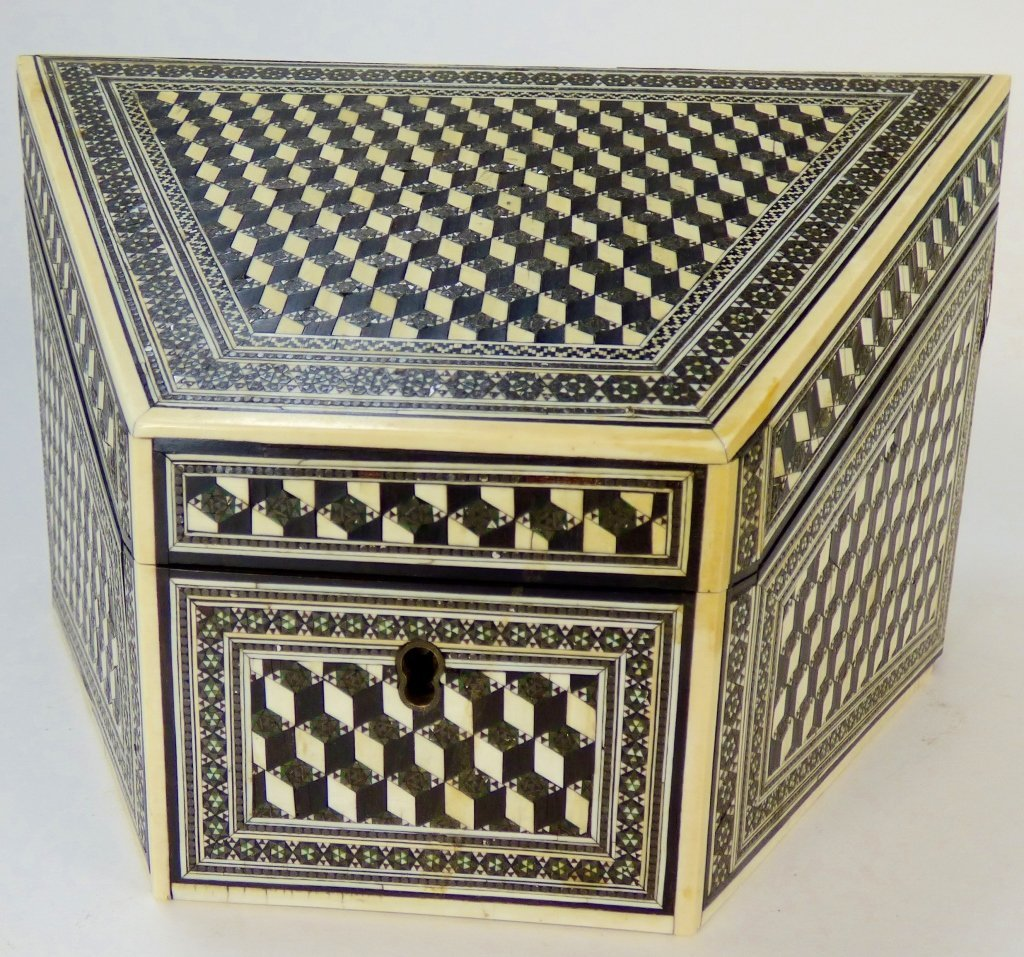Antique Anglo-Indian Ivory Inlaid Letter Box