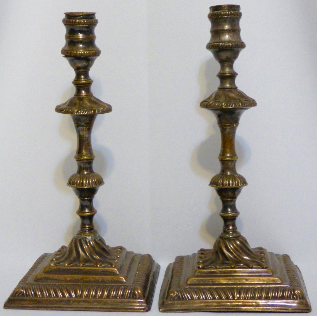Pair of Georgian Old Sheffield Plate Candlesticks