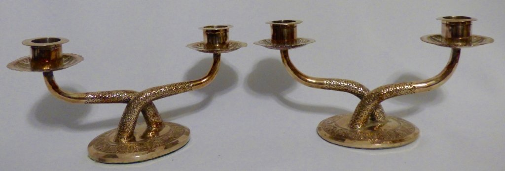 Pair of Malaysian Silver Two-Light Candelabra