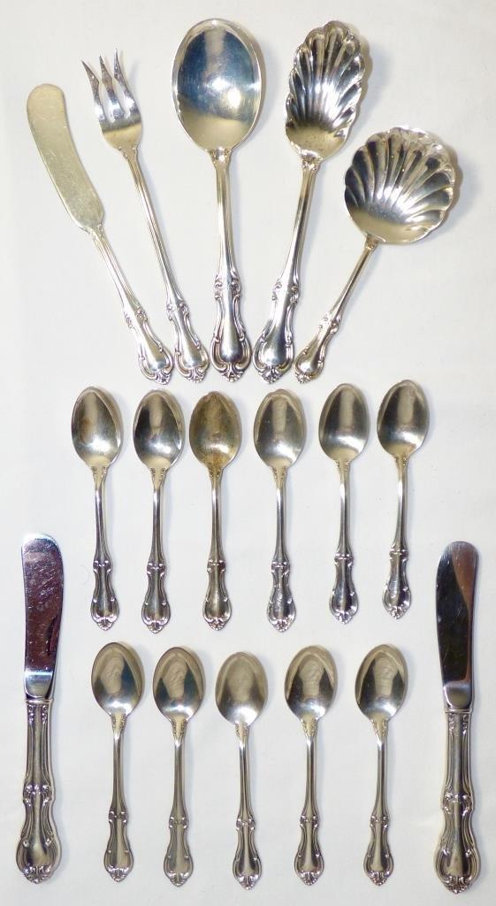 Eighteen Pieces International Sterling Tableware